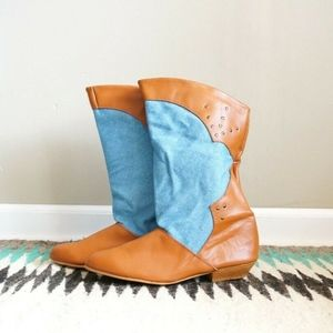 Cowboy Boots Tan Chambray Denim Studs Western